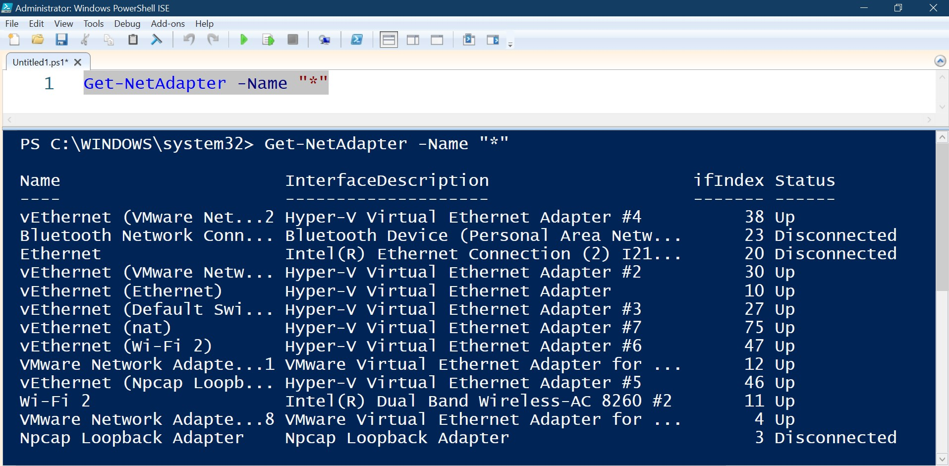 how to see all visible network adapters in microsoft powershell